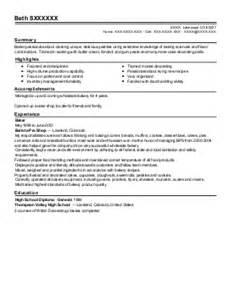 Sle Resume For Baker by Baker Resume Exle Panera Bread Llc San Bernardino