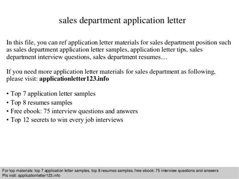 Application Letter Materi Sales Department Application Letter