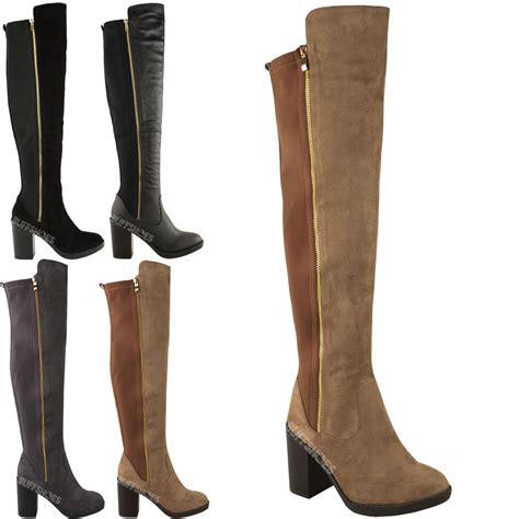 womens chunky heel the knee thigh high winter