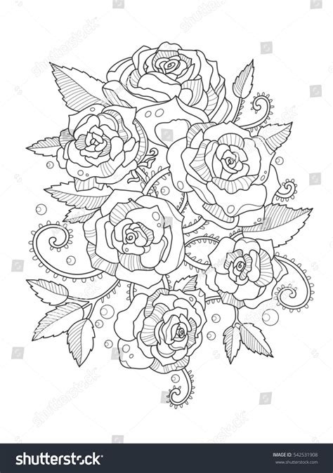 anti stress coloring book fully booked flower coloring book adults raster stock illustration