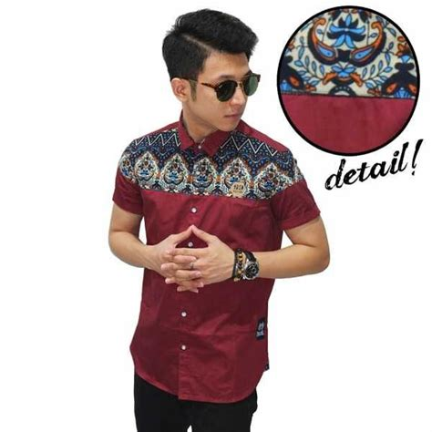 Kemeja Pria Grey Batik Aztec Print jadi keren dan terlihat sopan dengan kemeja pria kemeja pendek combi batik irian maroon