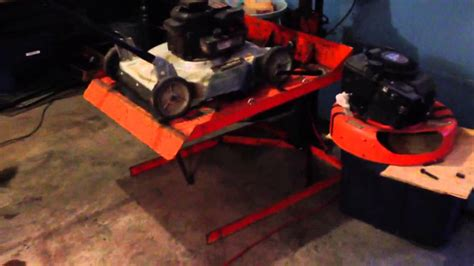 lawn mower work bench new to me lawn mower lift youtube