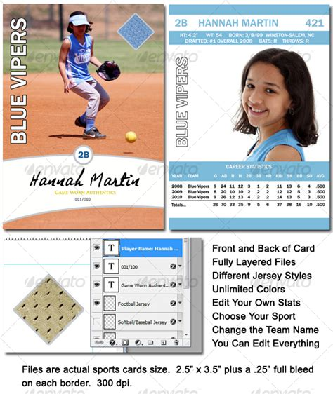 softball card template sports card template by rm4 graphicriver