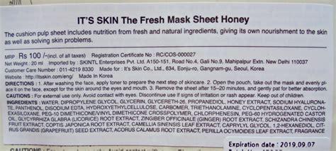 It S Skin Jackson Honey Mask Sheet it s skin the fresh mask sheet honey firm glow review