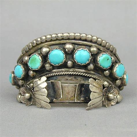 Vintage Turquoise Sterling Silver Navajo Watch Cuff Bracelet JAMESON from greatvintagestuff on