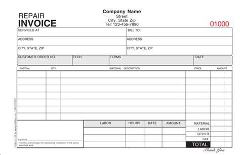 auto repair invoice for a garage with tax bills of sale free