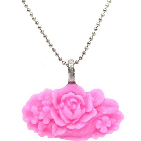 J 58364 Rosa Maxi colar prateado rosa elo7