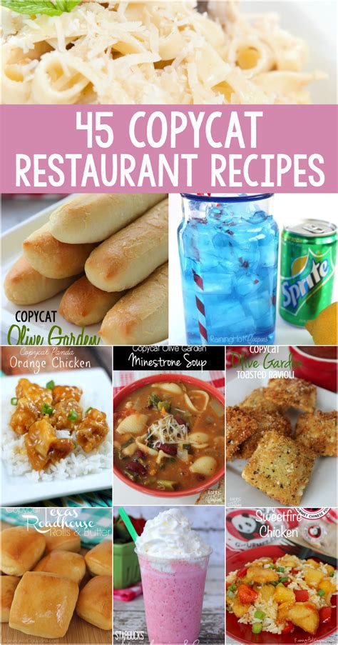 olive garden 45 45 copycat restaurant recipes olive garden starbucks wendy s sonic chili s panda and more