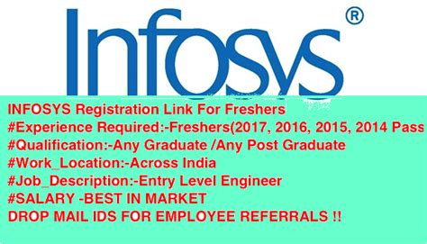 Mba Salary In Kuwait by Infosys Registration Link For Freshers Listentojobs
