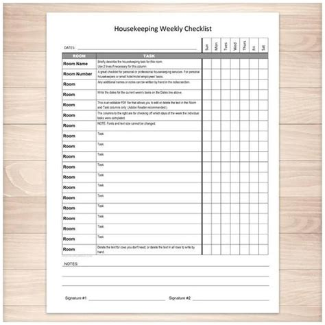 room checklist hotel housekeeping housekeeping weekly checklist cleaning services editable room and task list printable at