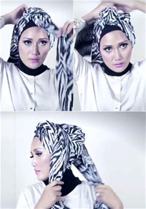 tutorial hijab turban cantik tutorial hijab pasmina motif menjadi turban yang cantik