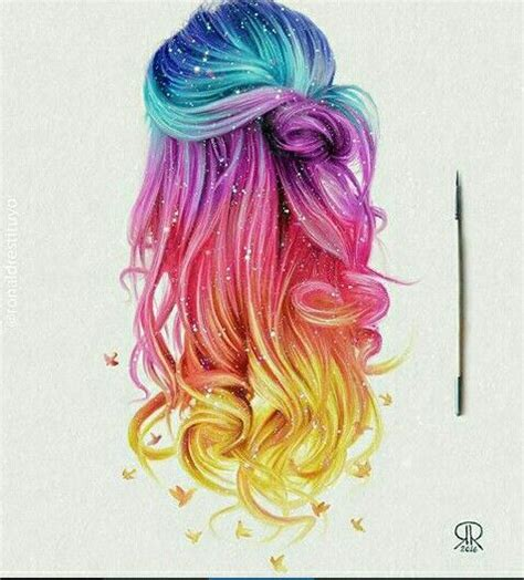 hairstyles color drawing rainbow hair colorhair rainbow galaxy unicorn