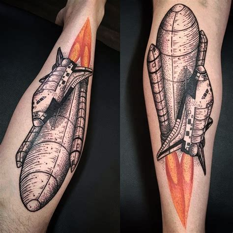 soular tattoo dotwork space shuttle by brie rawlings soular