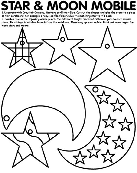 printable moon and star shapes star and moon mobile coloring page crayola com