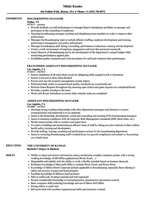 assistant housekeeping manager resume exle assistant housekeeping manager resume professional user