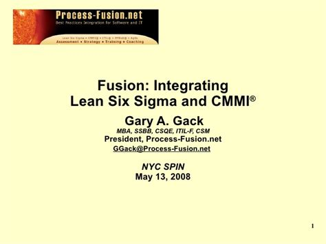 Lean Six Sigma Mba by Best Practices Fusion Lean Six Sigma Cmmi
