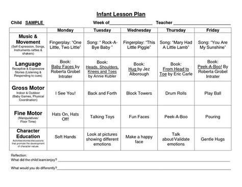 infant lesson plan template 17 best ideas about lesson plan sle on