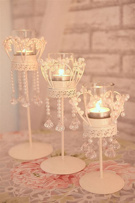 Home Decoration crystal candle holder metal crystal beads
