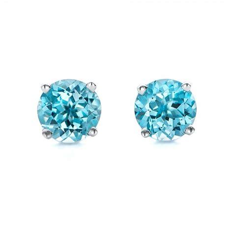 Blue Earring blue topaz stud earrings 100929
