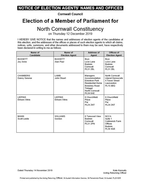 General Election – Notice of Agents North Cornwall