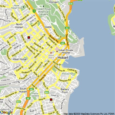 map of hobart city map of hobart tasmania hotels accommodation