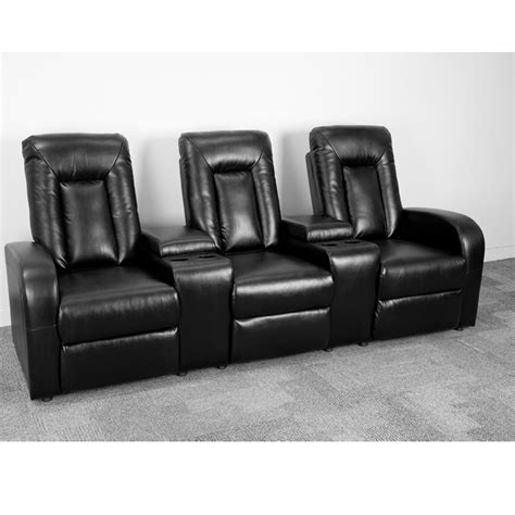 black leather theater recliner eclipse series 3 seat reclining black leather theater