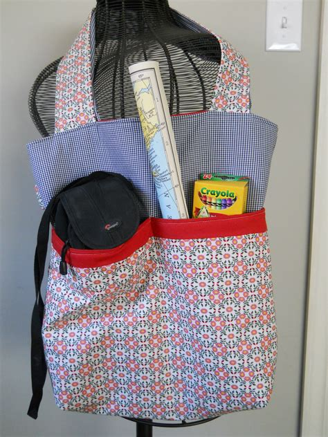 free tote bag pattern with inside pockets tote bag with outer pockets sewing projects burdastyle com