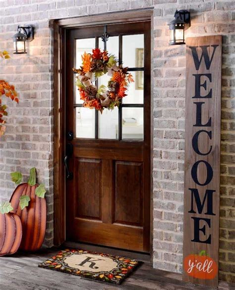 amazing ways  decorate  front door  fall style