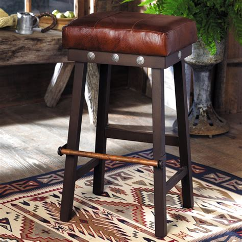 Western Leather Bar Stools by Western Furniture 24 Inch Leather And Iron Barstool With