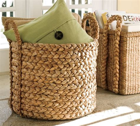 large basket for storing throw pillows am dolce vita cheap n chic seagrass water hyacinth baskets
