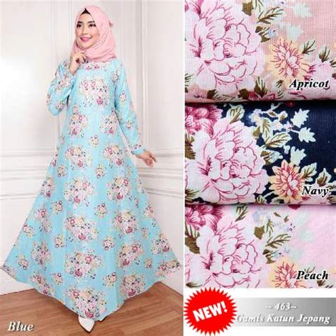 Motif Gamis Katun Jepang jual baju gamis katun jepang motif bunga g463 best seller