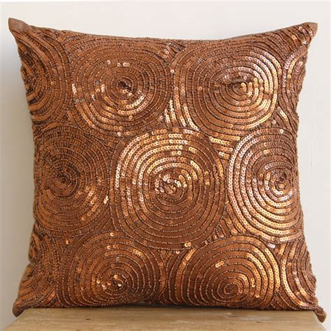 Copper Throw Pillow by Luxury Copper Pillows Cover 16x16 Silk