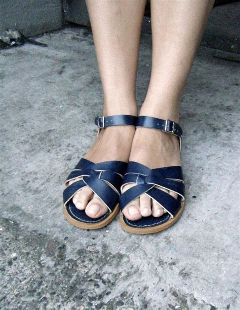 womens salt water sandals san sun vintage surfer salt water sandals in navy blue