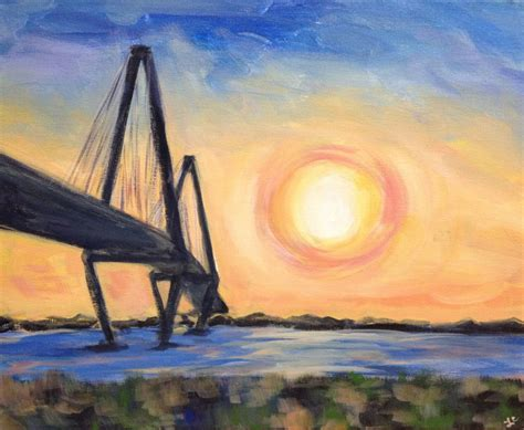 waterfront park sunset wine painting
