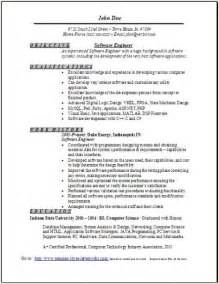 career objective for experienced software engineer software engineer resume sample occupational examples software engineer resume example technical resume