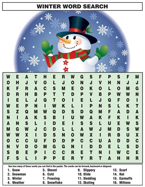 free printable winter word games for adults word search for kids activity shelter