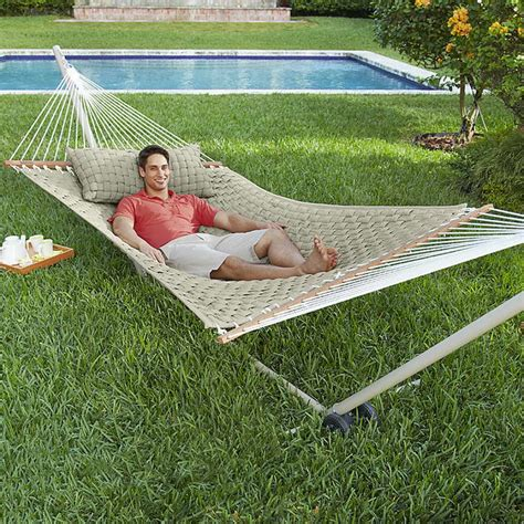 bloombety backyard ideas hammock with pillow beige the