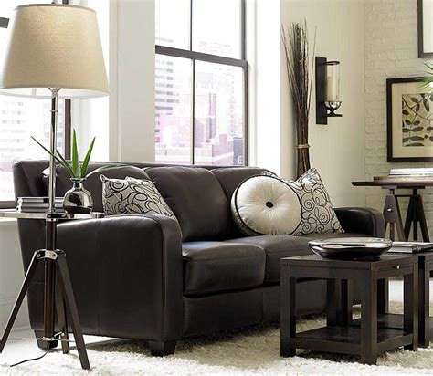 brown sofa black furniture dark chocolate classic sofa with pillow decor