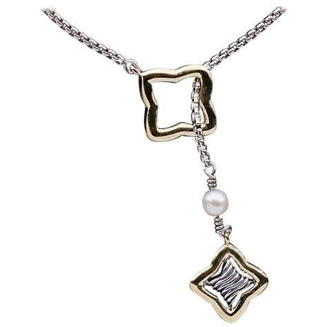 david yurman silver and gold quatrefoil pearl lariat