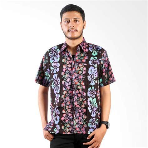 Kemeja Pria Cowok Ken Black Motof Batik jual batik nulaba cap kemeja pria lengan pendek sby bunga pelangi black harga
