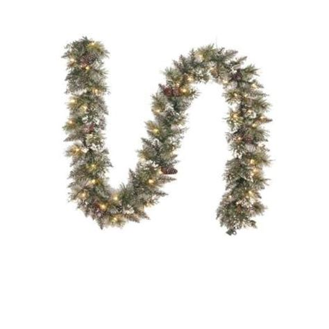 martha stewart living 9 ft pre lit glittery bristle pine garland martha stewart living 9 ft pre lit sparkling pine garland with clear lights spn g 120 50cl