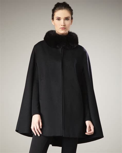 Opulent Clothing Sofia Cashmere Fur Collar Cape In Black Lyst
