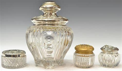 Vanity Jars by 4 Antique Sterling Cut Glass Vanity Jars Multi