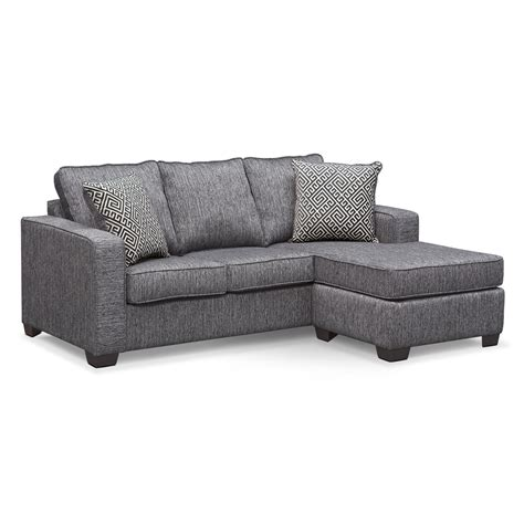 Chaise Sofa Sleeper Sterling Innerspring Sleeper Sofa With Chaise Charcoal American Signature Furniture