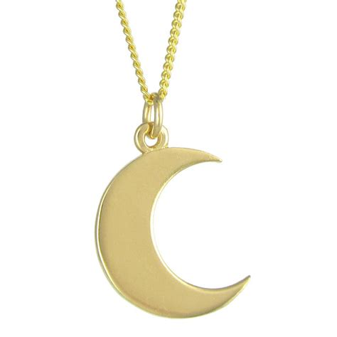 crescent moon necklace brass by black pearl