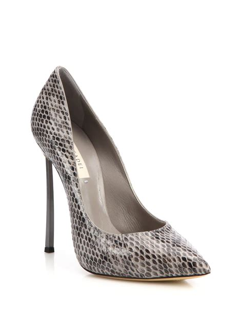 gray patterned heels casadei snake print blade heel pumps in gray lyst