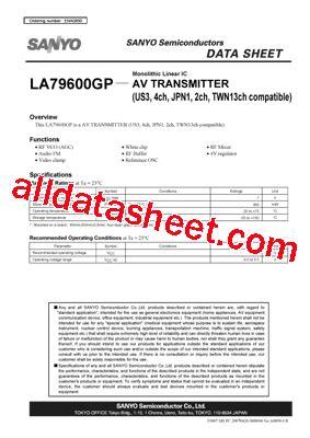 Ic Drv Strobo Abcd 2ch 4ch la79600gp datasheet pdf sanyo semicon device