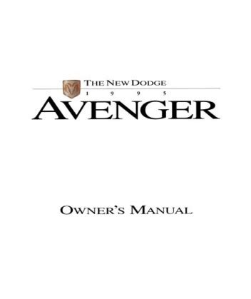service repair manual free download 1995 dodge avenger security system 1995 dodge avenger owners manual