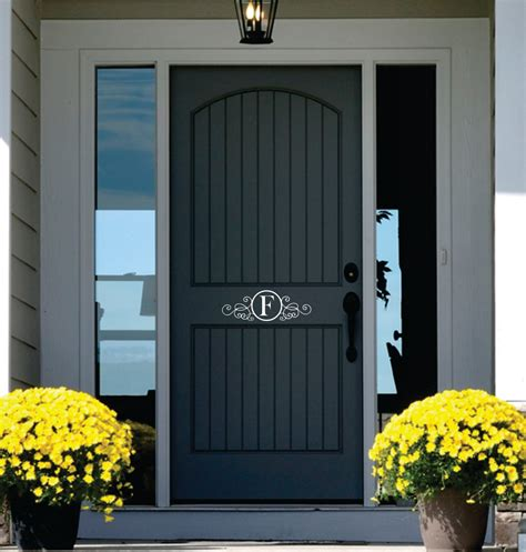 Vinyl Exterior Doors Monogram Door Decor Name Wall Decal Personalized Vinyl