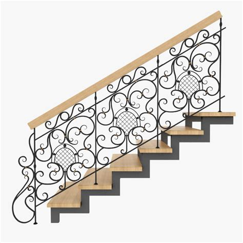 Iron Stair Banister 3d Model Wrought Iron Stair Rails